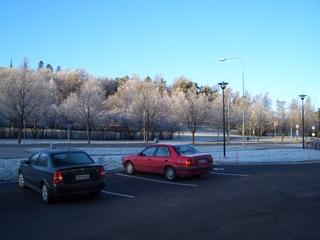 学校からの白い風景